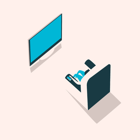 isometry: Man sits in a chair in front of TV. Vector illustration. Isometry style