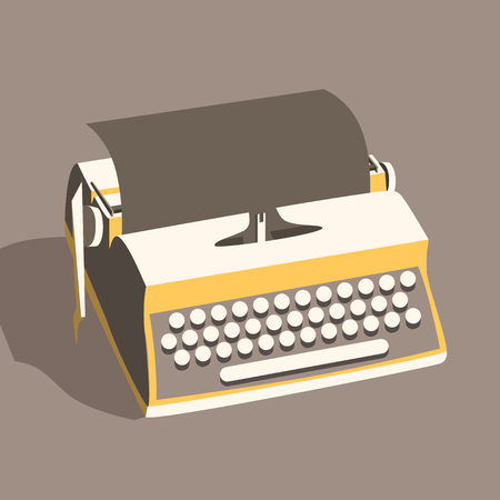 writer: Vintage typewriter. Vector illustration. Isolated background. writing text. Typography. Writer tool Retro manual typewriter