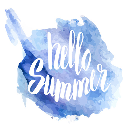 aquarelle: Hello Summer. Hand drawn typography. Vector illustration. Inspirational quote. Bright aquarelle Illustration