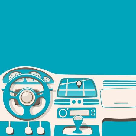 Vehicle interior. Inside car. Vector cartoon illustration. Car poster. Cartoon style. Driver behind the wheel
