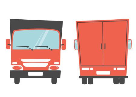 moving van: Set of cargo truck. Cartoon vector illustration. Moving van. Moving truck. Isolated on yellow background. Cartoon truck. White truck. Delivery of cargo