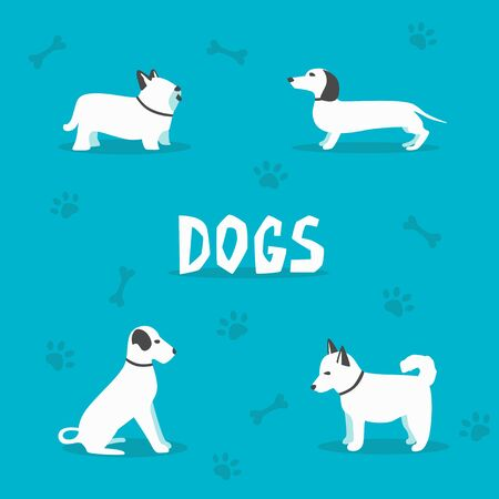 Set of dogs. Cartoon vector illustration. Vet clinic. Sale of purebred dogs. Isolated background. Flat style. Domesticated dogs