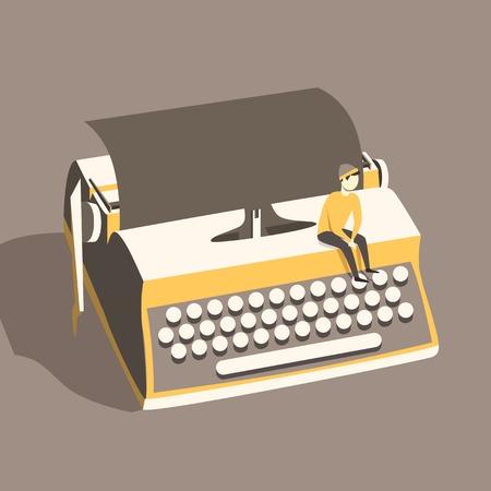 intro: Man on vintage typewriter. Vector illustration. Isolated background. writing text. Typography. Writer tool Retro manual typewriter. Figure of human Illustration