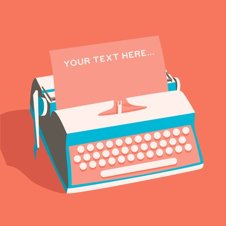 writer: Vintage typewriter. Vector illustration. Isolated background. writing text. Typography. Writer tool Retro manual typewriter