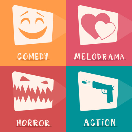 Movie genres. Retro movie poster. Cartoon vector illustration. Cinema motion picture. Film projector. Hand drawn lettering Illustration