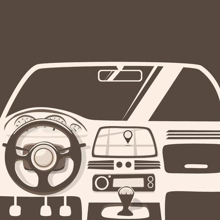 geolocation: Vehicle interior. Inside car. cartoon illustration. Car poster. Cartoon style. Driver behind the wheel Illustration
