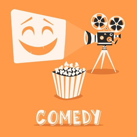 entertaining presentation: Comedy in the cinema. Happy holidays with popcorn. Laugh, entertainment, fanny film on projector Illustration