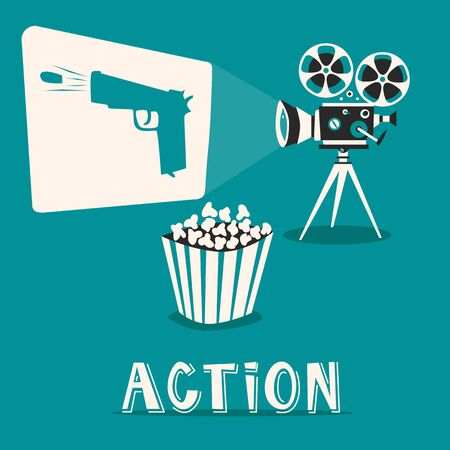 film shooting: Action in the cinema. Intriguing film with popcorn. Shooting and fighting on an old projector