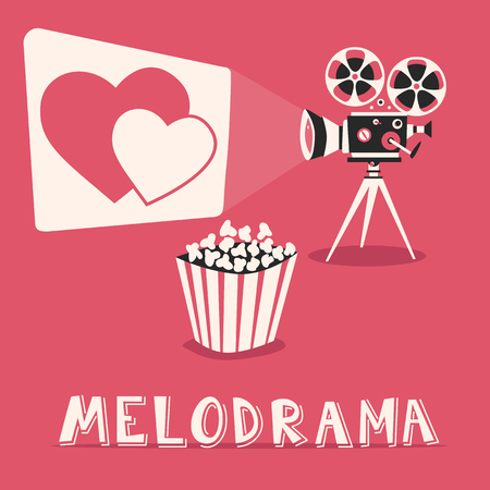 melodrama: Melodrama in the cinema. Romantic film with popcorn. Amorous movie on an old projector