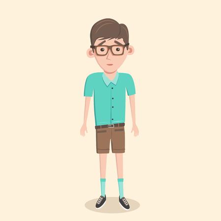 smart man: Cartoon illustration of a nerd boy. Schoolboy in glasses