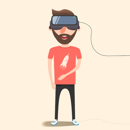 futurity: Man with glasses of virtual reality. The future has arrived. Cartoon style. Flat design.