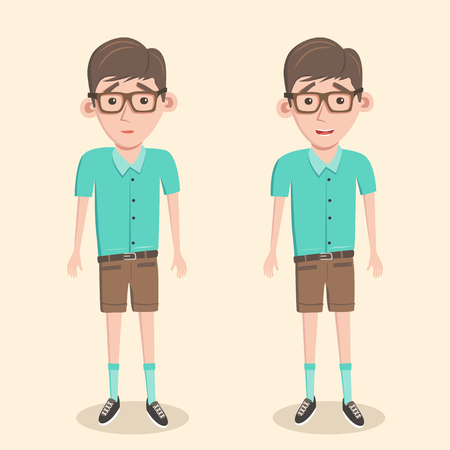 humble: Cartoon illustration of a nerd boy. Schoolboy in glasses