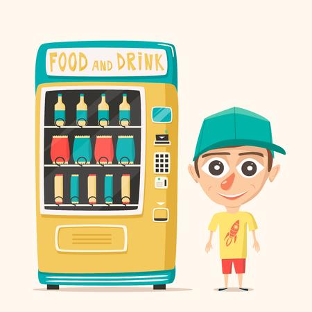 Vintage automaat met drankjes. Retro cartoon stijl. Geïsoleerde achtergrond. Aankoop van schoon water. Drinkwater Vector Illustratie