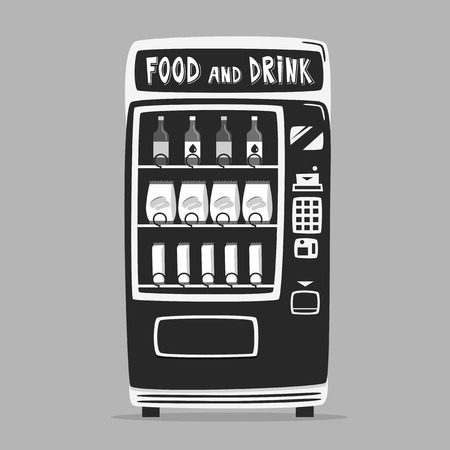 Vintage vending machine with drinks. Retro cartoon style. Isolated background. Purchase of clean water. Drinking water Illustration