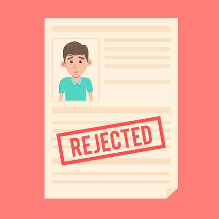 rejected: Rejected paper document. Cartoon illustration. Sad man