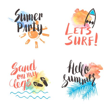 lets party: Hand lettering summer set. Hello Summer. Lets surf. Party. Greeting card