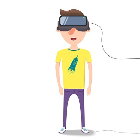 arrived: Man with glasses of virtual reality. The future has arrived. Cartoon style. Flat design.
