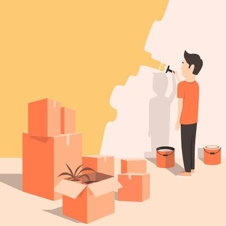 freshly: Man paints the wall at home. Cartoon style. Moving. Freshly renovated