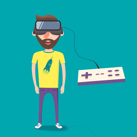 Man with glasses of virtual reality. The future has arrived. Cartoon style. Flat design.