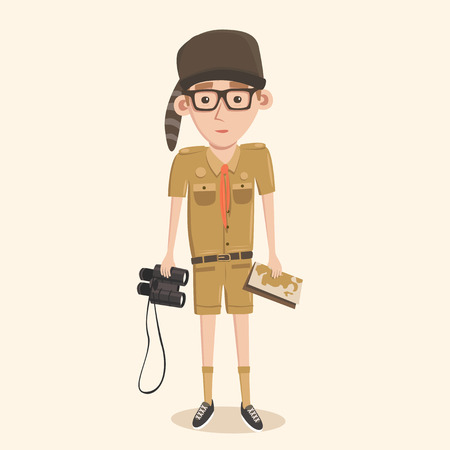 smart boy: Boyscout with binoculars. Smart boy training to scout. Map in hand. Illustration