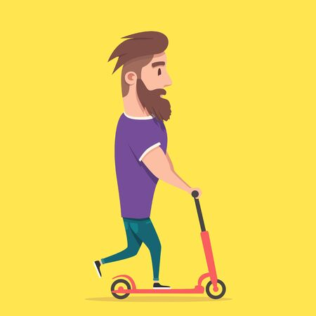 fanny: Hipster racing a scooter. A young modern man loves adventure. Fanny person on illustration. Cartoon style.