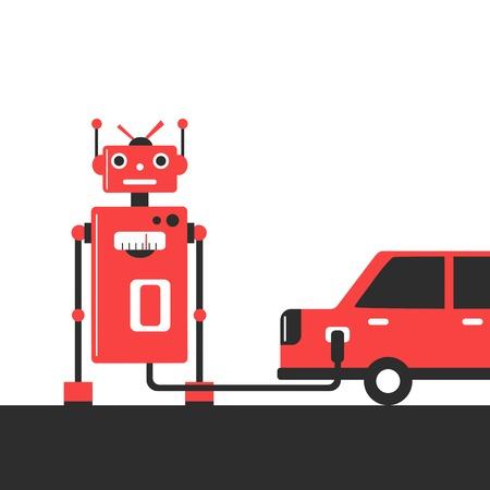 refuel: robot. Refuel car at gas station concept flat style. Gasoline pump. Vector illustration.