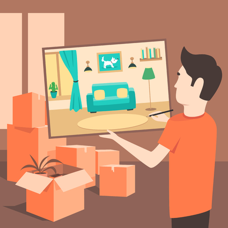 relocation: The artist draws an apartment before the move. Flat illustration. Relocation service. Box for moving. Transportation package cargo service