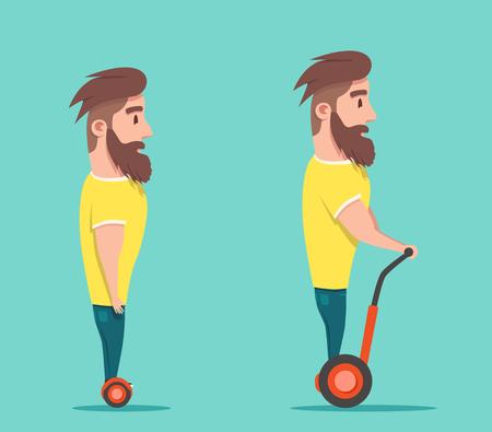 craze: Man on hoverboard. Cartoon vector illustration. Human on Gyroscooter. Trend