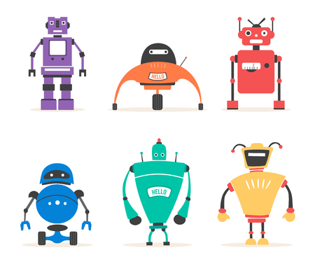 cyborg: Set of robots. Vintage style. Cartoon vector illustration. Friendly cyborg Illustration