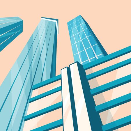 downtown: Skyscrapers in the city. Bottom view. Cartoon vector illustration. Vintage style. Buildings in downtown. Corporate architecture Illustration
