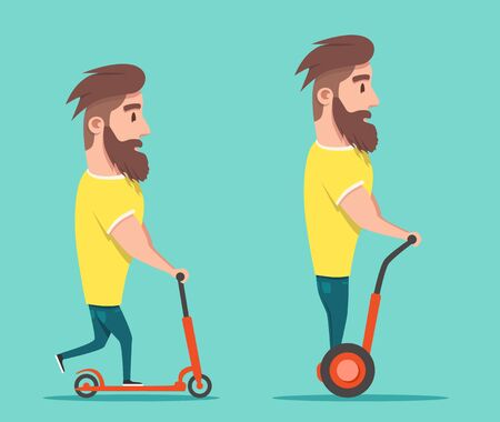 Man on hoverboard and scooter. Cartoon vector illustration. Human on Gyroscooter. Trend. Person on segway. Activity lifestyle. Cute character. Innovation transport Illustration