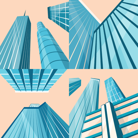 downtown: Set of modern buildings in the city. Cartoon vector illustration. Skyscrapers in downtown. Corporate architecture. Bottom view. Architecture collection