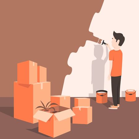 home moving: Man paints the wall at home. Cartoon style. Vector illustration. Moving. Freshly renovated