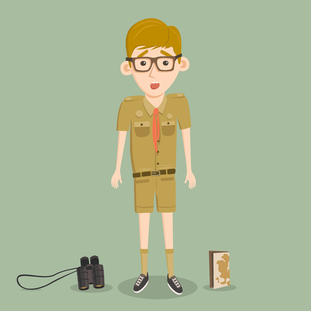 smart boy: Boyscout with binoculars and map. Smart boy training to scout. Scared character