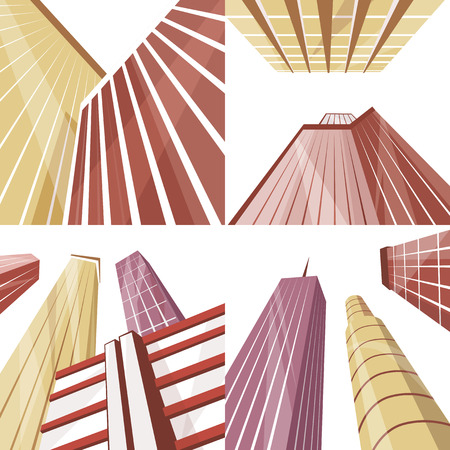 commercial building: Set of modern buildings in the city. Cartoon vector illustration. Skyscrapers in downtown. Corporate architecture. Bottom view. Architecture collection