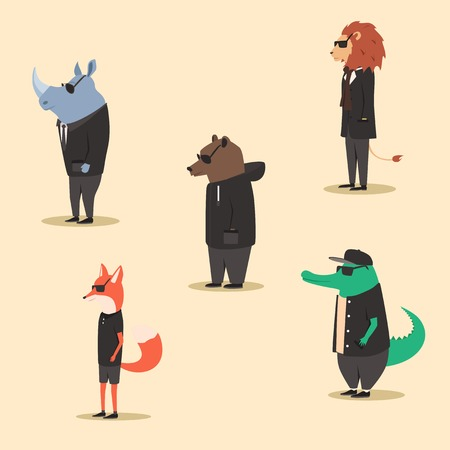 anthropomorphism: Group of animals in clothes. Casual style. Cartoon vector illustration. Anthropomorphism. Wildlife. Set of bright african animals.