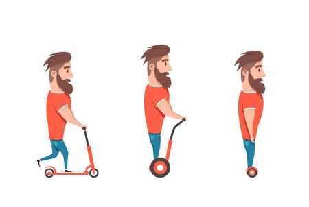 Mann auf Hoverboard und Roller. Cartoon Vektor-Illustration. Mensch auf Gyroscooter. Trend. Person auf Segways. Aktivität Lebensstil. Netter Charakter. Innovation Transport