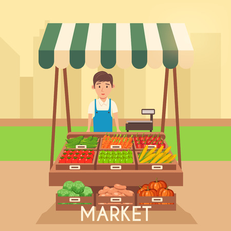 shop local: Farm shop. Local stall market. Selling vegetables. Flat vector illustration. Fresh food