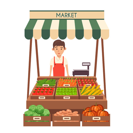 sunblind: Farm shop. Local stall market. Selling vegetables. Flat vector illustration. Isolated on white background. Fresh food