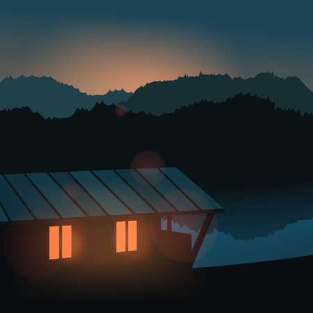 lake house: Evening landscape on the river. Travel, home. Vector illustration. Lake house