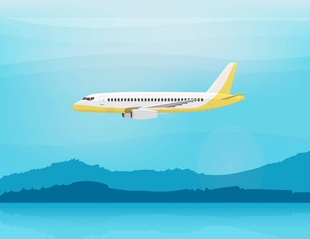 airliner: Airplane flies in the sky. Side view. Airliner. White airplane. Fast jet. Cartoon vector illustration. Cloudy day.