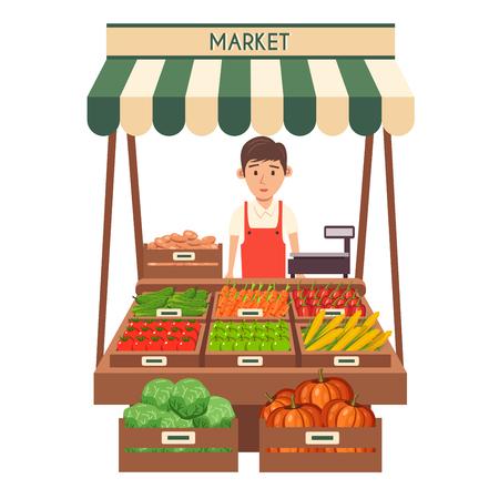 Tienda de granja. puesto en el mercado local. Venta de verduras. ilustración vectorial plana. Aislado en el fondo blanco. Comida fresca Ilustración de vector