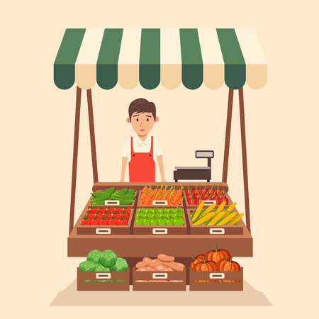 Farm shop. Local stall market. Selling vegetables. Flat vector illustration. Fresh food