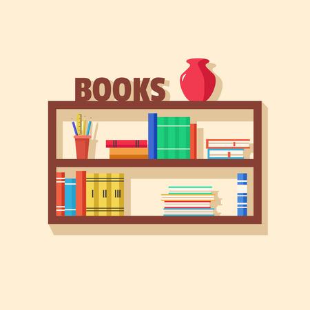bookshop: Set of bookshelves. Vector flat illustration. Books on wooden bookshelf. Addition to the interior