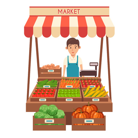 shop keeper: Farm shop. Local stall market. Selling vegetables. Flat vector illustration. Isolated on white background. Fresh food