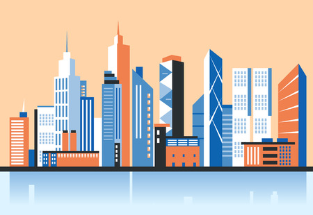 landscape architecture: City downtown landscape. Skyscrapers in the city. Flat vector illustration. Business center. Geolocation area. Modern architecture. Vintage style. Illustration