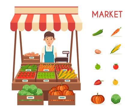 농장 가게. 지역 스톨 시장. 야채를 판매. 평면 벡터 일러스트 레이 션입니다. 흰색 배경에 고립. 신선한 음식 일러스트