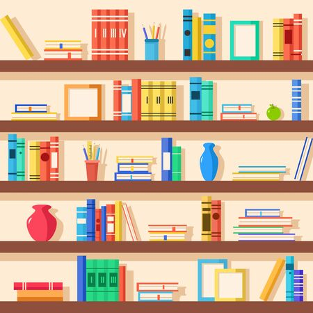 bookshop: Set of bookshelves. Vector flat illustration. Books on wooden bookshelf. Addition to the interior. Education
