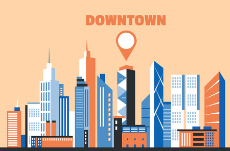 commercial building: City downtown landscape. Skyscrapers in the city. Flat vector illustration. Business center. Geolocation area. Modern architecture. Vintage style. Illustration