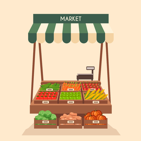 store keeper: Farm shop. Local stall market. Selling vegetables. Flat vector illustration. Isolated on white background. Fresh food